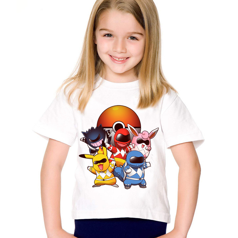 Los niños de impresión de dibujos animados de ir de Poke Rangers divertido camisetas niños Pokemon camisetas de verano niños/niñas bebé ropa Casual ¡ooo5097