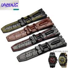 UYOUNG En Cuir montre bande cran En Cuir Bracelet Montre Bracelet chêne AP alternative accessoires 28 MM