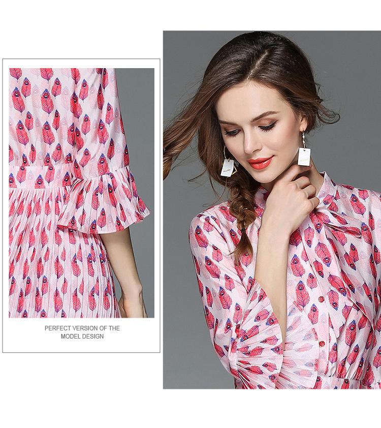 Woman Horn Sleeve Printed Pink Summer Dress Womens Dresses New Arrival 2018 Midi Beach Party Dress Dames Kleding K6012 7