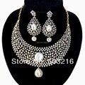 Alta Qualidade Crystal Clear Promoção Moda Antique Ouro/Rhodium Nupcial Indiano Conjuntos de Jóias de Casamento