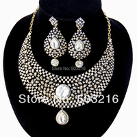 Hoge Kwaliteit Clear Crystal Promotie Mode Antiek Goud/Rhodium Plated Indian Bridal Bruiloft Sieraden Sets