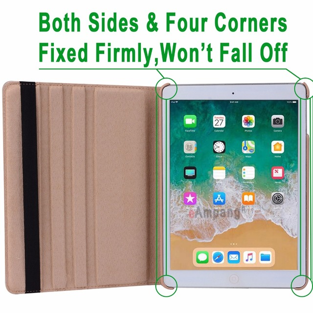 360Degree Rotating Leather Smart Cover Case for Apple iPad Air 1 Air 2 5 6 New iPad 9.7 2017 2018 5th 6th Generation Coque Funda 4