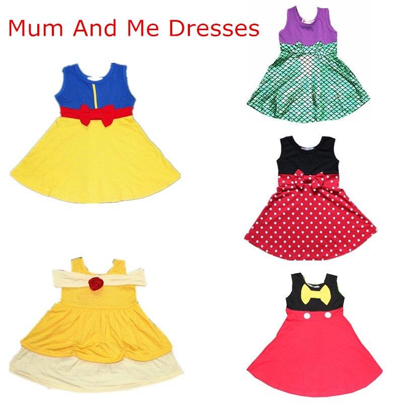 Halloween mamá y yo vestido familia Matching princesa Cosplay vestidos Belle sirena Minnie Mickey nieve Partido Blanco vestido de verano