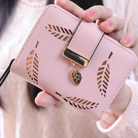 New Fashion Female Wallet Short Paragraph Hollow Gold Leaf Small Purse Large Capacity Wallets LXX9