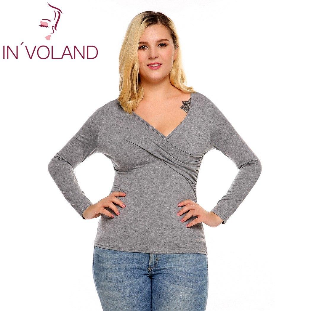 IN'VOLAND Frauen T-Shirts Top Plus Size Frühling Herbst Tiefem - Damenbekleidung - Foto 1