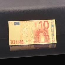 Notas de ouro para coleção 5 20 50 100, folha de ouro colorido 10 euro notas em 24k 200 500 pacote de 2pc