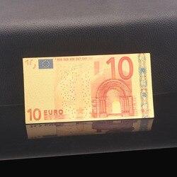 Цветные европейские золотые банкноты, 10 евро, банкноты в 24-каратной золотой фольге, поддельные деньги для коллекции 5 20 50 100 200 500, 2 шт. в упаков...