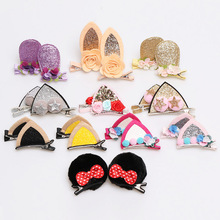 2pcs New Stereo Double Cat Ears Hair Clips for Girls Lovely Sequins Rabbit Crown Flower Hairpins Kids Accessories