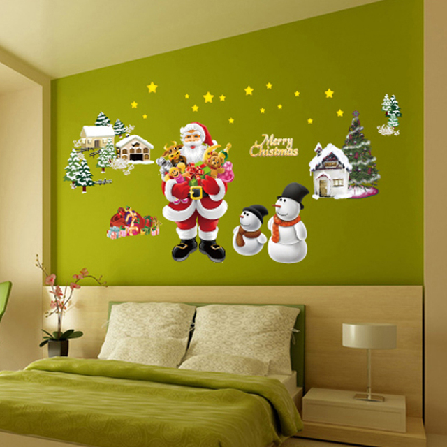 Christmas Santa Claus Trees Snowmen Stars Wall Sticker Decal ...
