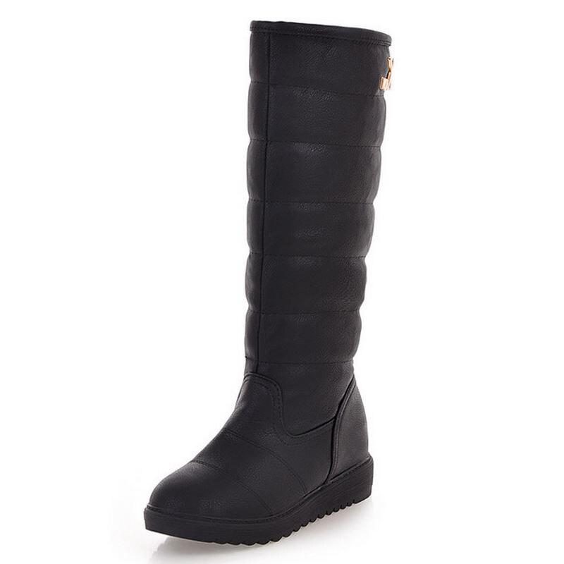 Warm Schwarzes Lady Baumwolle Frauen weiß Botas Stiefel Boot Fashion Winter Halb rot Kurze 39 Plattform Größe 34 Schuhe Wade Mitte Flache Schnee K00230 w7t7R