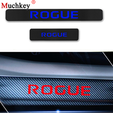 Door Step Plate Car Stickers For Nissan ROGUE Car Door Sill Scuff Plate Carbon Fiber Vinyl Sticker Car Styling Auto Parts 4Pcs цена