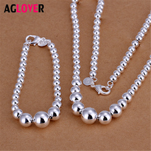 New Sterling Silver 925 Chain Beads Long Necklace Bracelet Women Charm Boutique Jewelry Sets