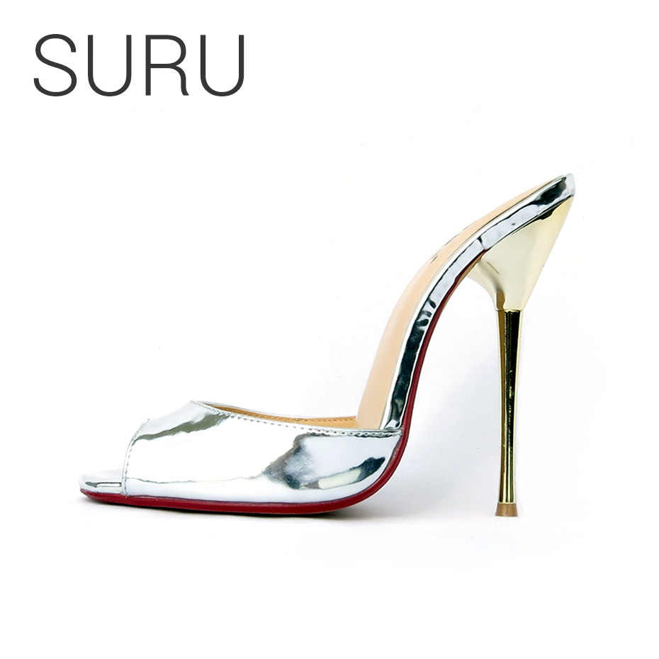 4be5a245a979 SURU Women Large Size Mules Shoes Fashion Women Wedding Sliver High Heeled  Slipper Sandals For Bride
