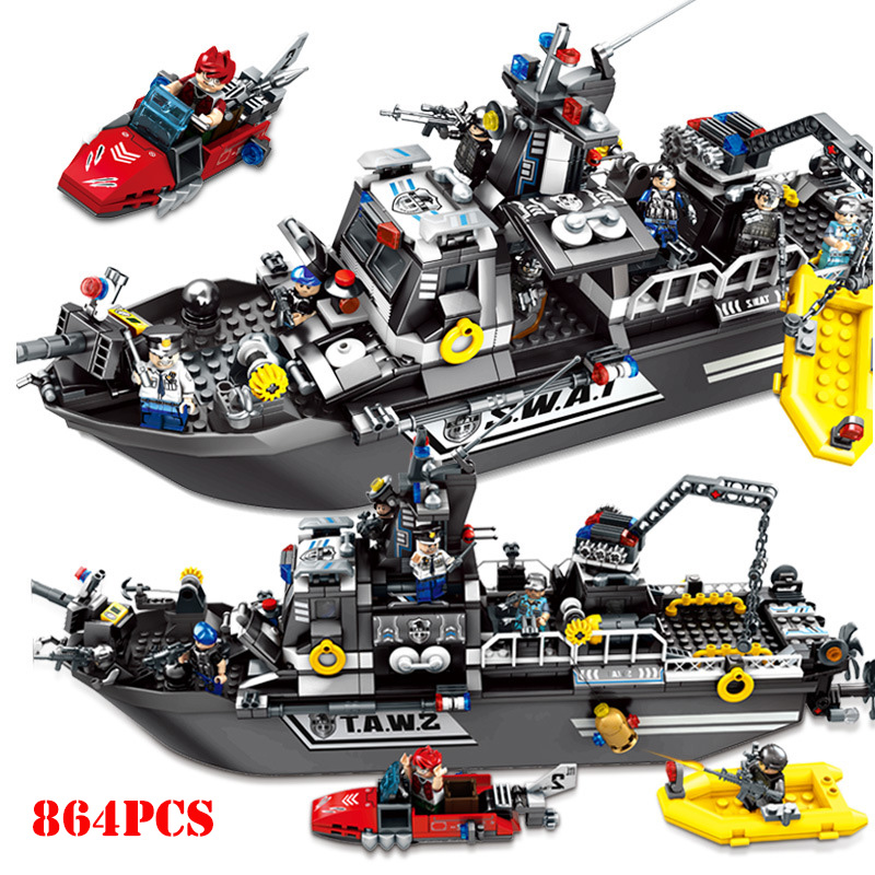 City SWAT Police Ship Truck Vehicle Building Blocks Compatible Legoings Military Bricks Educational DIY Toys For Children GiftsCity SWAT Police Ship Truck Vehicle Building Blocks Compatible Legoings Military Bricks Educational DIY Toys For Children Gifts