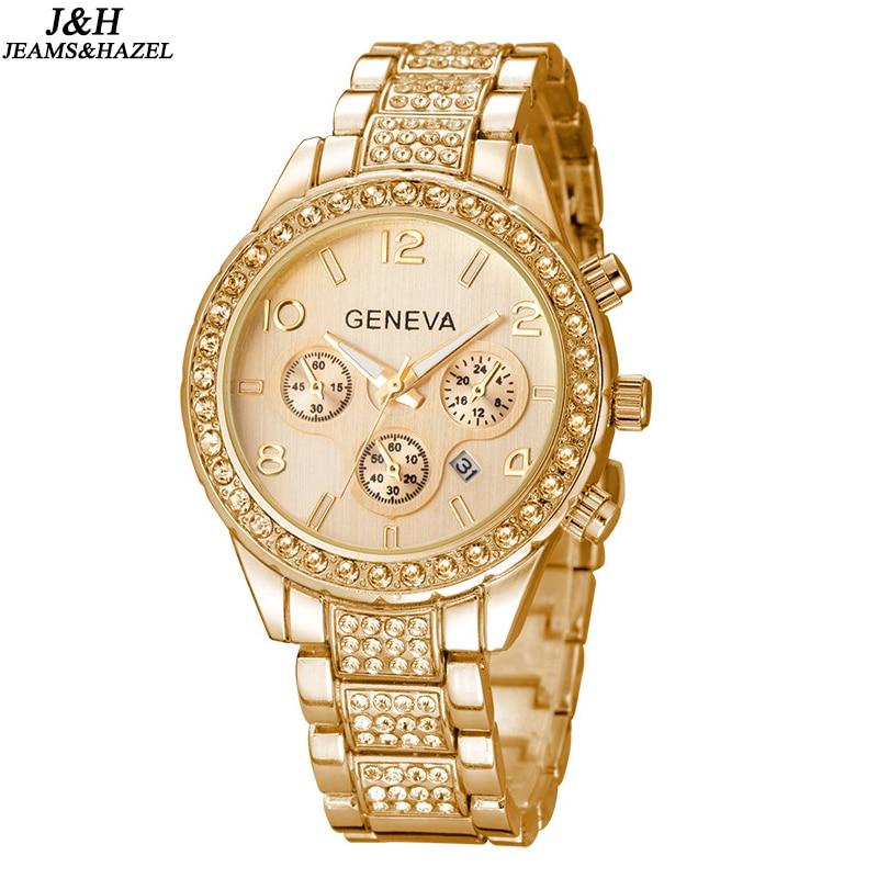 Venta caliente de lujo de Ginebra Marca de Cristal reloj de las mujeres damas hombres vestido de moda reloj de pulsera de cuarzo con fecha