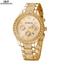 Venta caliente de Lujo de Ginebra Marca reloj Cristalino de las señoras de los hombres de moda vestido de pulsera de cuarzo con fecha