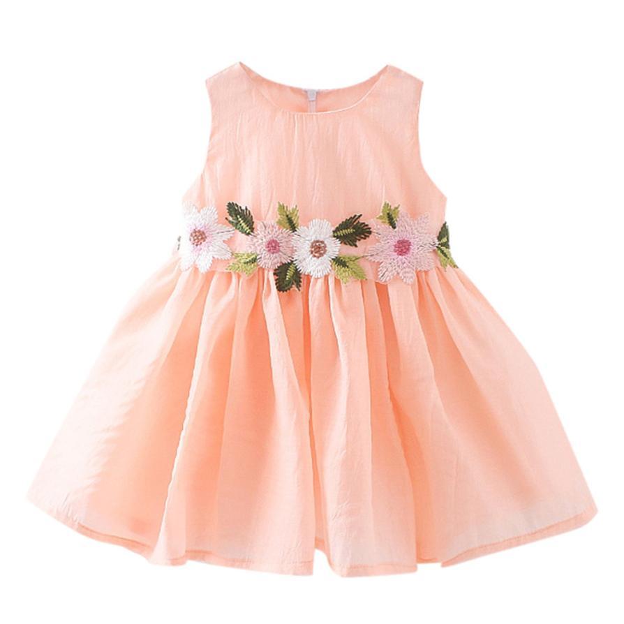 2018 New Fashion Flower Children Baby Girls Floral Printing Princess Sleeveless Grenadine Dresss High Quality Lovely Gift
