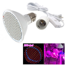 200 Led Plant Grow Light Lamp Bulbs Ac Power Cable Adapter Holder Flower Growing For