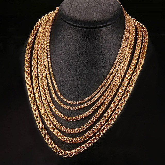 644b7572374e2 US $5.35 |Excellence Square Wheat Link Chain Necklace Mens Gold Tone  Stainless Steel Foxtail Spiga Hiphop Jewelry 20 30