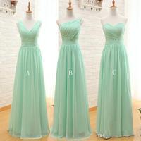 2017 Long Cheap Mint Green Bridesmaid Dresses Floor Length Chiffon A Line Vestido De Madrinha De