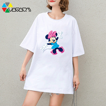 Big Size Women Summer Cartoon Print Tee MInnie Mickey Mouse Cute Short Sleeve Harajuku Tops Breathable T-shirt