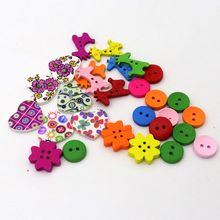 40pcs/lot Mixed Color Spacer Beads Cute Heart Round Deer Flower Wood For Jewelry Finding Handmade DIY Accessories