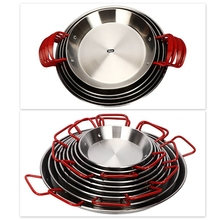 20-30cm Diam Thickened Stainless Steel Frying Pan Fryer Non-stick Paella Pan Crayfish Plate Seafood Cooker Cheese Rice Cooker