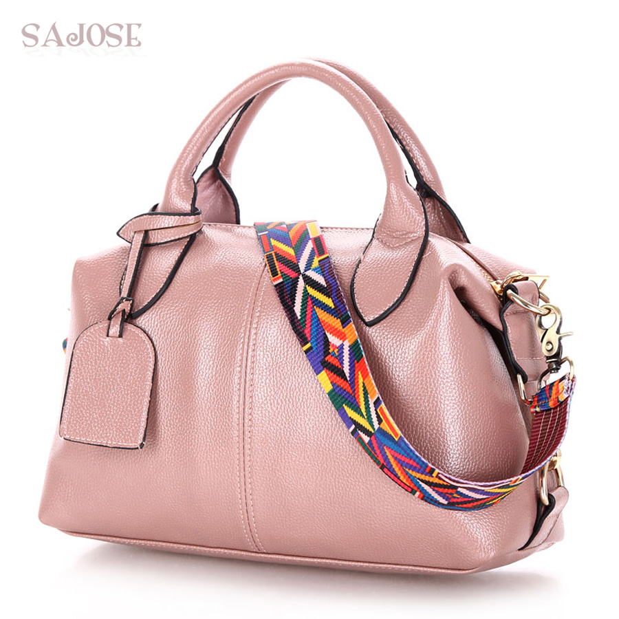 SAJOSE New 2017 Women Pink Simple Pillow Totes Bag Leather Women's Colorful Shou