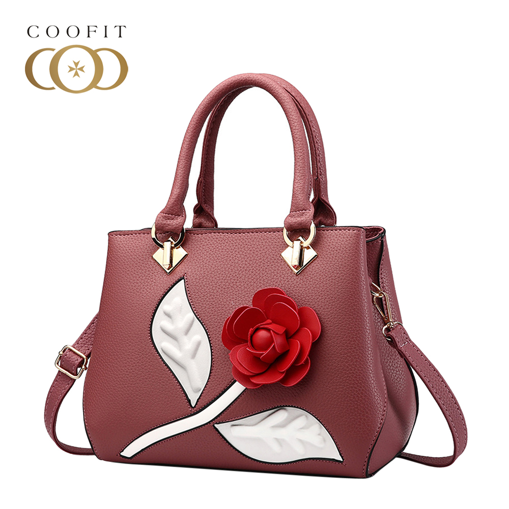 Coofit Fashion Women PU Leather Shoulder Bag Crossbody Handbag Purse For Female Lady Girl 3D Rose Flowers Pattern Messenger Bags цены онлайн