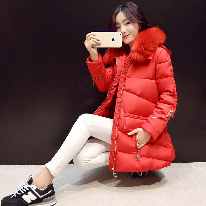 Down&Parkas Winter Women Coat Female Slim A-line Fur Collar Hooded Thick Cotton Padded Jacket Women Winter Clothing TT251 hooded collar korean new 2014 winter clothing full sleeve solid down jacket slim women casual cotton padded coat ly1066