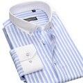 New Fashion Branco Colarinho Button-down Dos Homens Vestido Listrado Camisas de Manga Longa Slim Fit De Algodão Sociais Masculino Business Casual camisas