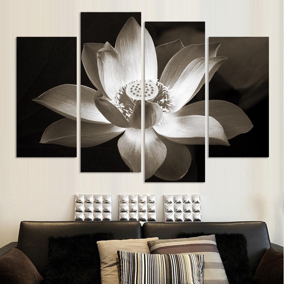 4panel Moderna zidna umjetnička dekoracija ispisana cvjetnim uljem - Kućni dekor - Foto 2