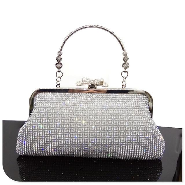 المرأة كريستال مساء حقيبة صغيرة حجر الراين الزفاف محفظة حقيبة يد حقيبة يد سيدة براثن أزرار ماسية الخرز سلاسل الإناث