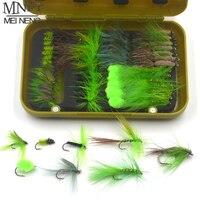 MNFT 1 набор (40/56 шт) мухи для рыбалки  искусственные приманки в форме насекомых  рыболовные крючки с коробкой для рыбалки