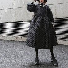 Johnature V 冬の新ファッションハイストリートヴィンテージプラスサイズロングパーカー女性のためのタイ ネックランタンスリーブ女性のコート