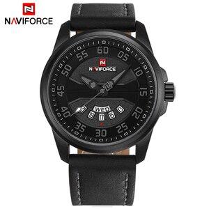 Image 2 - New Luxury Brand NAVIFORCE Men Fashion Casual Watches Mens Quartz Clock Man Leather Strap Army Military Sports Wrist Watch