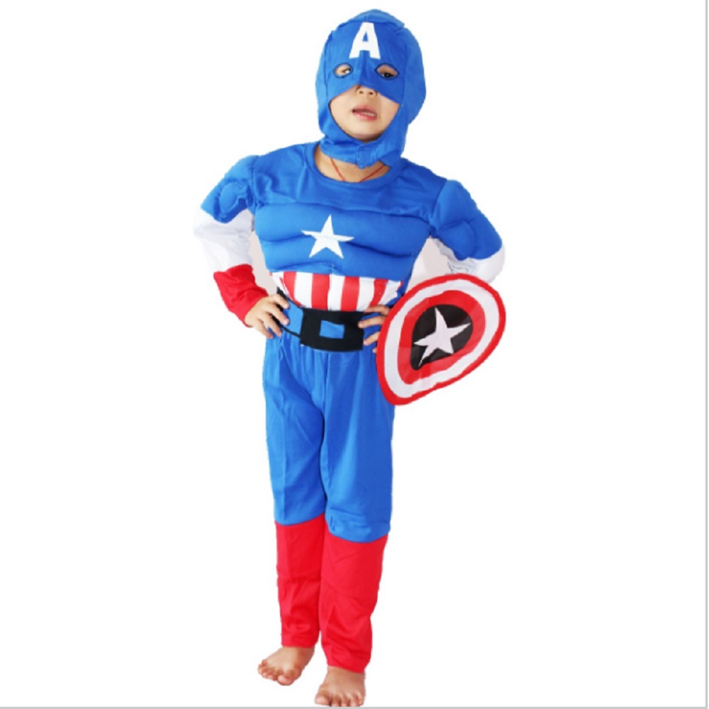 3-7Years Boy Captain America Muscle Costume Halloween Costume For Kids Role Play Party Cosplay T-Shirt Set S-XXL