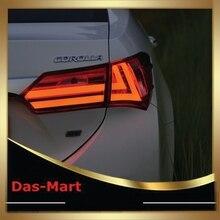 Venta caliente Estilo Del Coche Para Toyota 2014-2015 Corolla Altis LED Tira Luces Traseras Modificar Custom Custom Rojo Claro Humo rojo