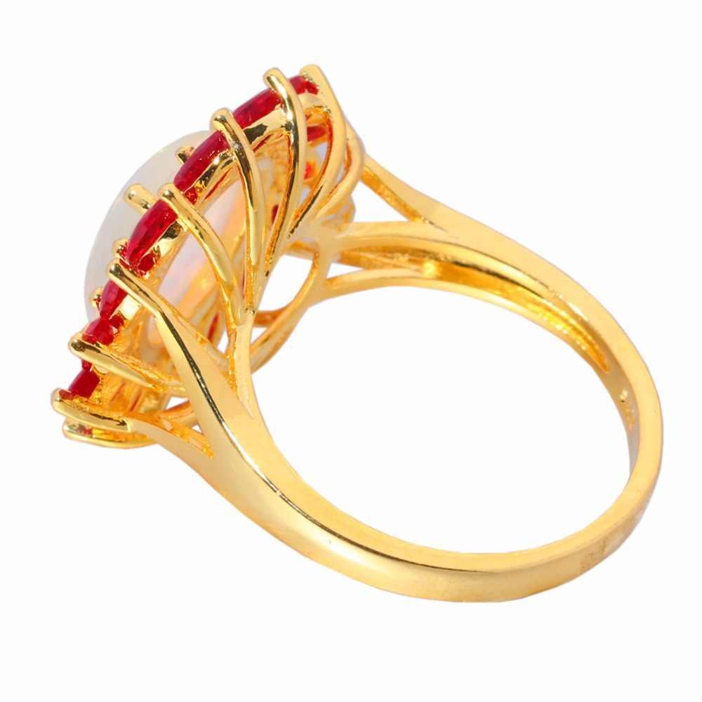 CiNily creado blanco fuego ópalo granate amarillo oro Color venta al por mayor venta caliente para mujeres joyería tamaño del anillo 6-10 OJ6159