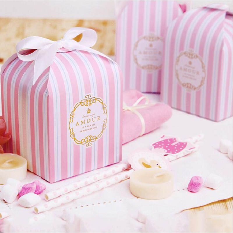 European Stripe Candy Box Wedding Favors Supplies Baby Shown Birthday Party Event Gift Pastry Packing Boxes Bag 8x8x8cm