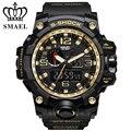 Homem relógios choque s-série de ouro selva esportes ao ar livre estilo de luxo mens dupla afixação relógio eletrônica smael 1545
