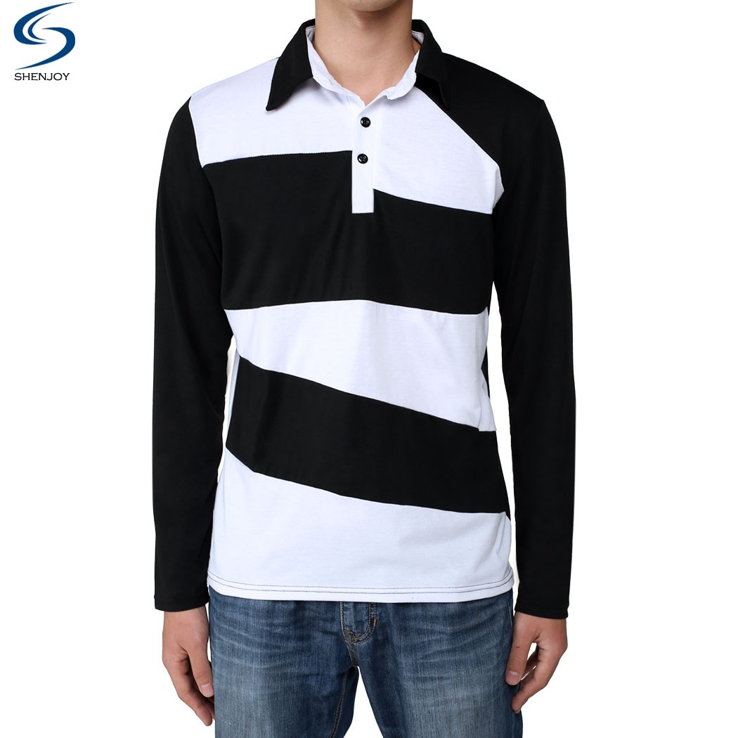 Cool Men Turn Down Collar T Shirt Full Sleeve Vintage Sports Male Top Cotton Tees Printing In Shirts From Mens Clothing Accessories On