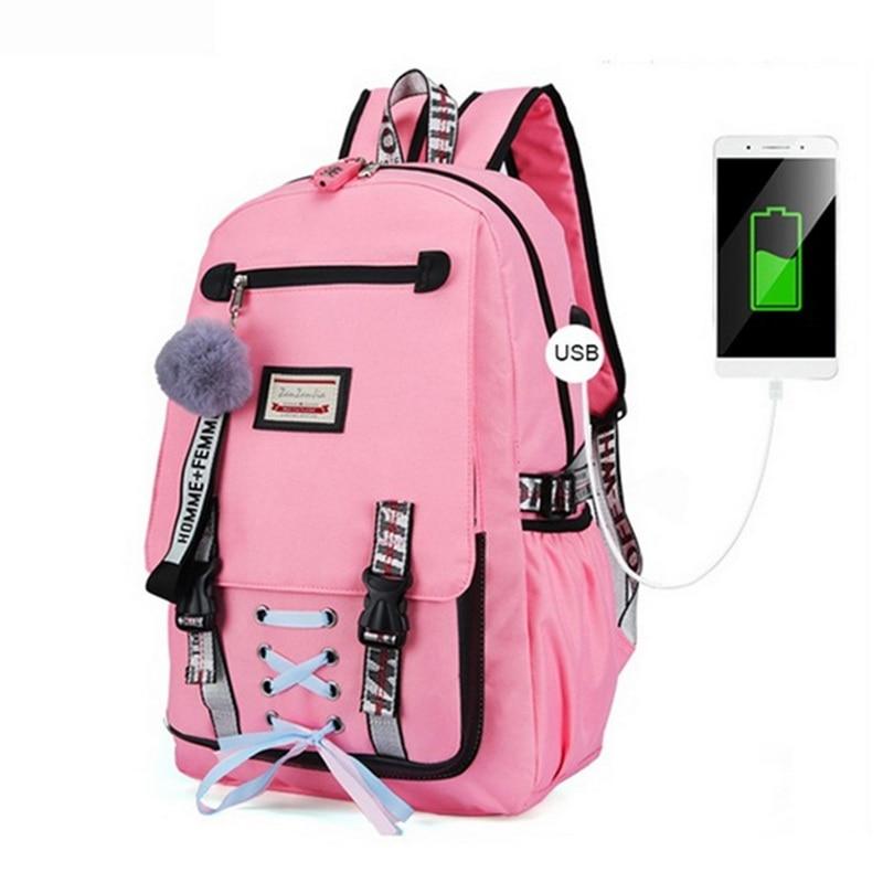 Large School Bags For Teenage Girls Usb With Lock Anti Theft Backpack Women Book Bag Big High School Bag Youth Leisure College steering wheel phone holder