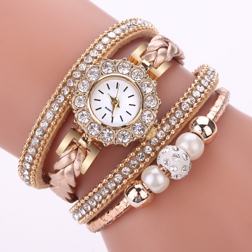 Women Watches Fashion Vintage Weave Wrap Quartz Wrist Watch Bracelet For Ladies Reloj Mujer Analog Diamond Rhinestone Clock B50