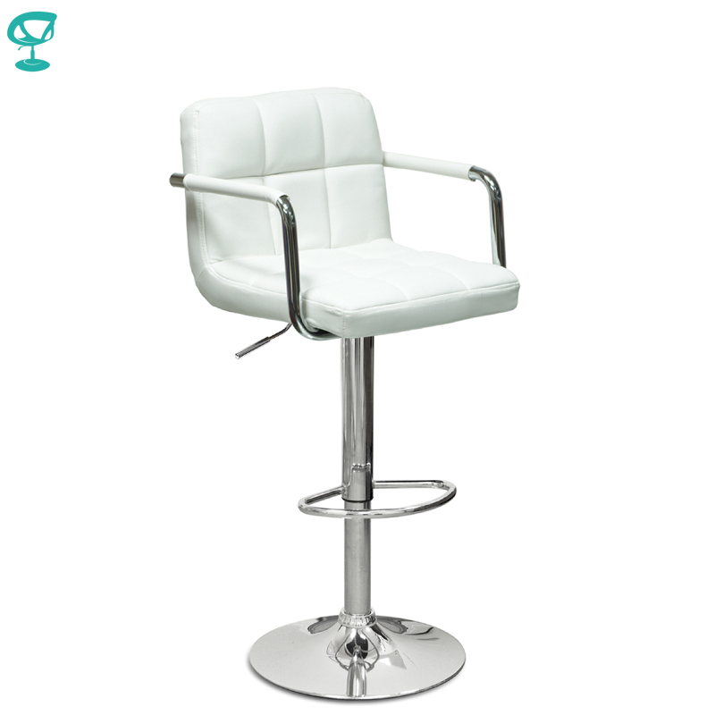94376 Barneo N-69 Leather Kitchen Breakfast Bar Stool Swivel Bar Chair White Color Free Shipping In Russia