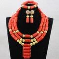 Coral Perlas de la Boda africana Set Collar de Oro Con Cuentas Mujeres Chunky Joyería Nupcial Sets 2017 Envío Gratis CNR769