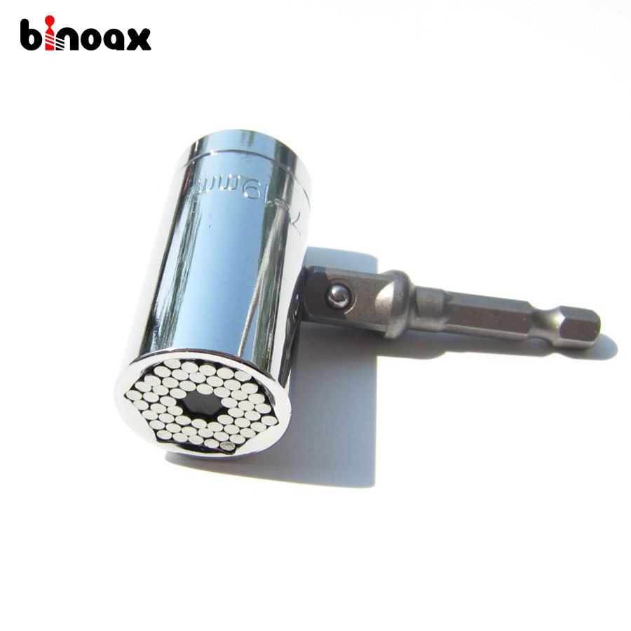 Binoax 2 Pcs/Set Magic Spanner Grip Multi Function Universal Ratchet Socket 7-19mm Power Drill Adapter Car Hand Tools Repair Kit