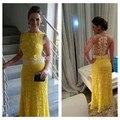 Vestidos De Fiesta 2015 Sexy Sleeveless Floor Length Sheer Back Yellow Lace Pearls Long Formal Party Evening Dresses Prom Dress