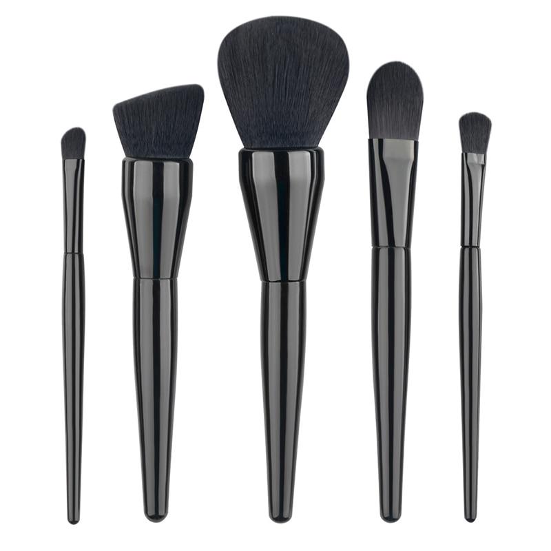 5pcs Professional Makeup Brushes Soft Black Hair Make Up Foundation Powder Cosmetic Brush Makeup Beauty Brush Tools professional bullet style cosmetic make up foundation soft brush golden white