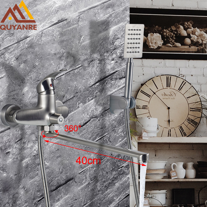 Bathtub Faucets 400mm Long Nose Spout 360 Rotation Shower Faucet Brushed Nickel Single Handle Mixer Tap